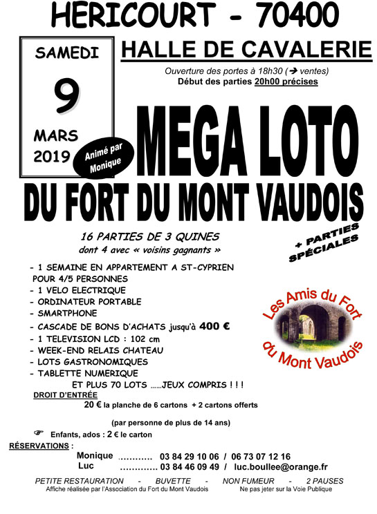 09 Mars 2019 : LOTO FORT DU MONT VAUDOIS