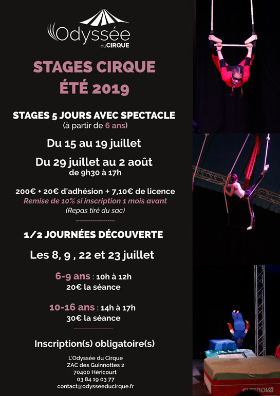 Été 2019 : Stage Cirque - 5 jours et 1/2 journée