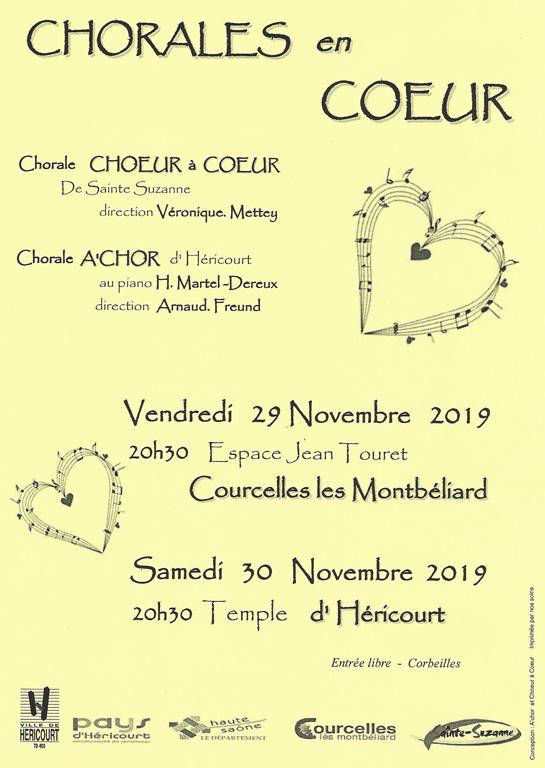 Les 29 et 30 Novembre : Concert Chorales en Coeur