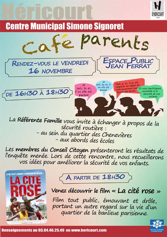 16 Novembre de 16h30 à 18h30 : Café Parents