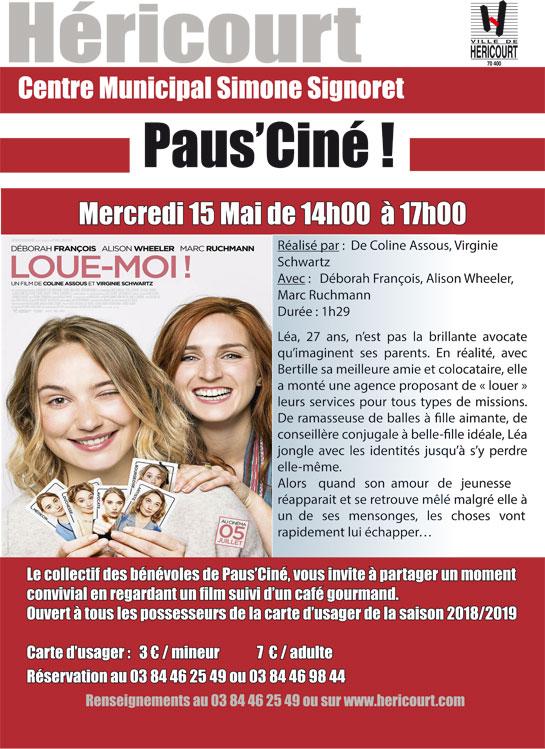 Mercredi 15 Mai : Paus'Ciné - LOUE-MOI !