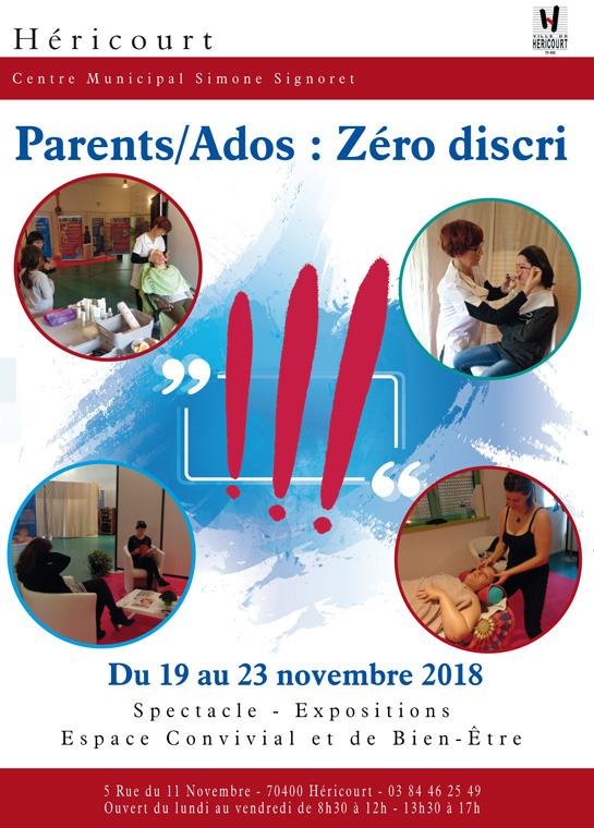 Du 19 au 23 Novembre : Parents/Ados : Zéro discri