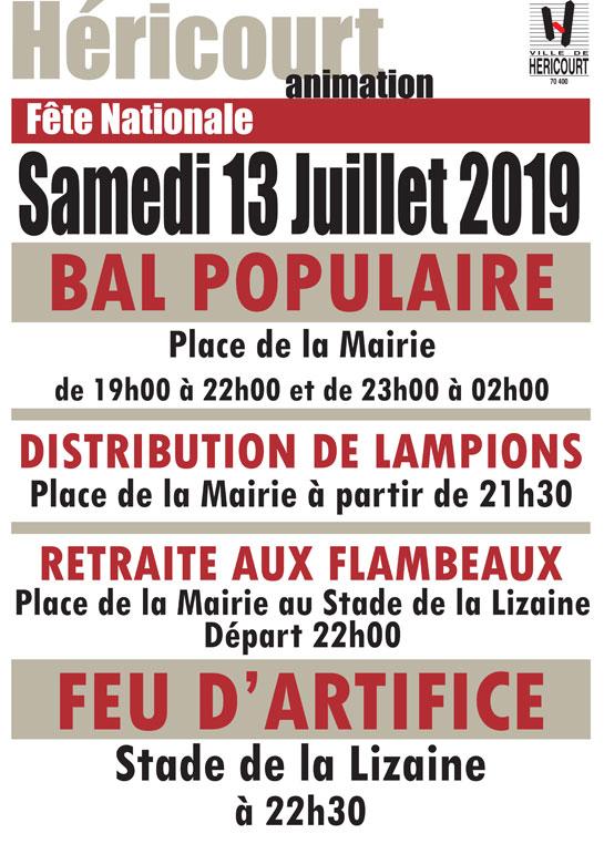 Samedi 13 Juillet : BAL et FEU D'ARTIFICE